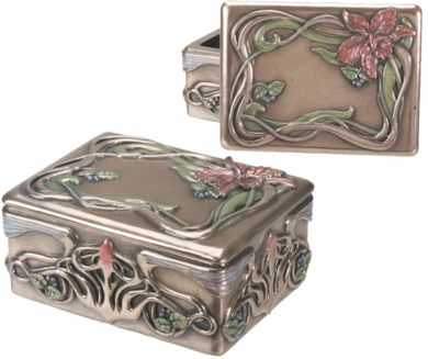 Art Nouveau Art Deco Orchid Jewelry Box Mandarava Gifts for the