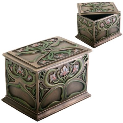 Art Nouveau Rectangle Flower Jewelry Box Mandarava Gifts for the