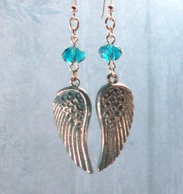 Aqua Small Angel Wing Earrings with Swarovski Crystals
