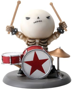 Rockstar Lucky On Drums Boy Skeleton Statue