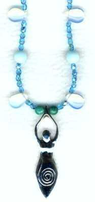 Aqua Opal Spiral Goddess Necklace