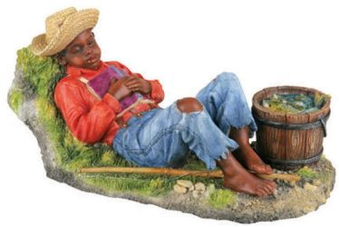 Boy Sleeping - African American Child Statue