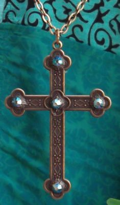 Celtic Antiqued French Cross With Aqua Crystals