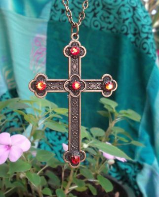 Celtic Antiqued French Cross W/fire Opal Crystals