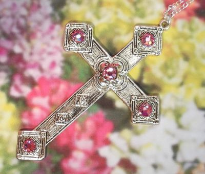 Celtic French Cross Necklace With Swarovski Crystals