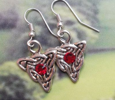 Celtic Wolfs Head Earrings With Crystals