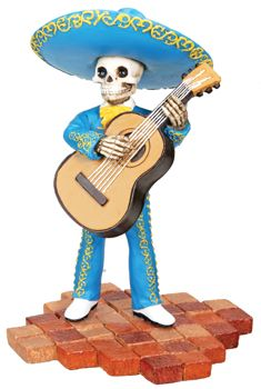 Mariachi Band Skeleton Bass Player - Blue