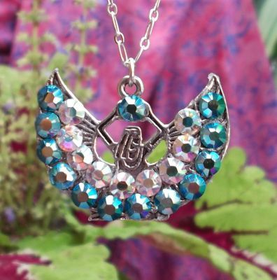 Egyptian Aqua Crystal Isis Necklace