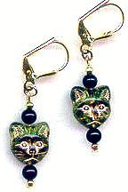 Egyptian Bast Cat Gold And Black Earrings