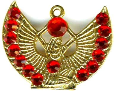 Egyptian Kneeling Isis With Ruby Swarovski Crystal