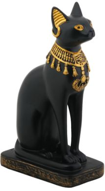 Black And Gold Bast Cat Goddess Statue