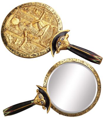 Ancient Egyptian Aegis And Hathor Hand Mirror