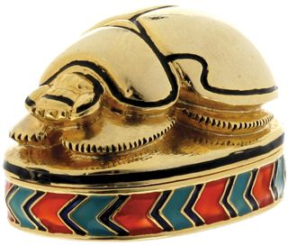 Ancient Egyptian Scarab Enameled Jewelry Box