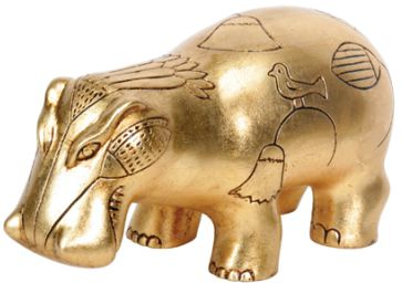 Ancient Egyptian Gold Leaf Egyptian Hippo Statue