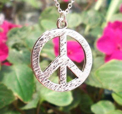 Hammered Peace Sign - Large Jewelry Pendant