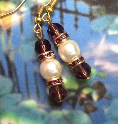 Amethyst And Pearl Wedding Earrings