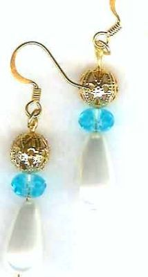 Aqua Renaissance Pearl Drop Earrings
