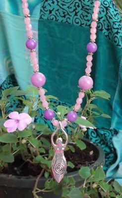 Lavender Jade Spiral Goddess Necklace