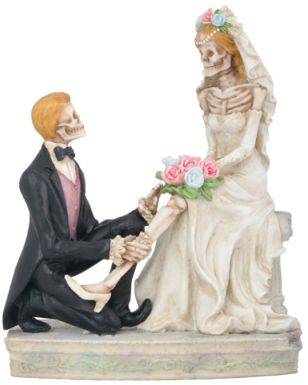 Skeleton Lovers With Garter - Love Never Dies