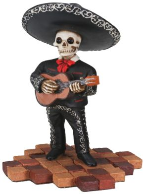 Mariachi Band Skeleton Guitar Player - Black - A