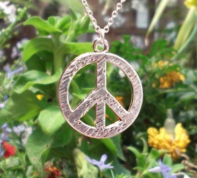Medium Hammered Peace Sign Jewelry Pendant