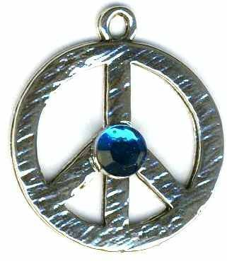 Medium Hammered Peace Sign Necklace With Crystal