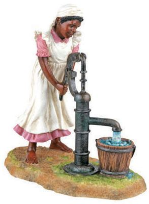 Pumping Water  - African American Child Statue