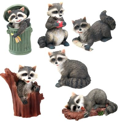 Raccoons - Set Of 6 Figurine Statues