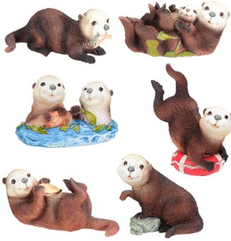 Sea Otters - Set Of 6 Figurine Statues