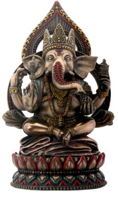 Seated Ganesha On Lotus Statue
