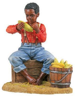 African American Statues - Shucking Corn