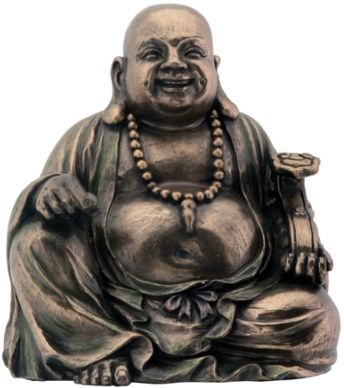 Sitting Hotei Statue - Bronze Finish