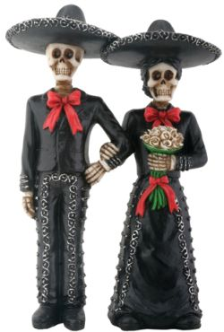 Day Of The Dead Mariachi Couple Skeletons Statue