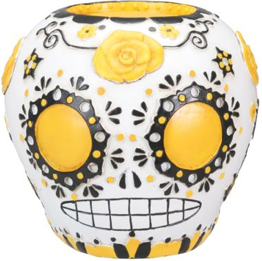 Day Of The Dead Sugar Skull - Yellow Statue