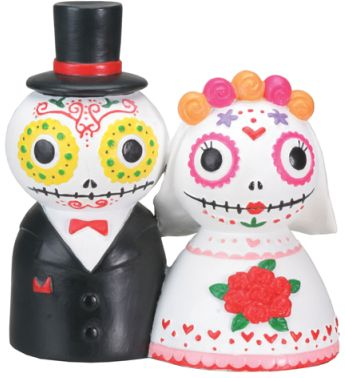 Day Of The Dead Skeleton Wedding Couple Statue