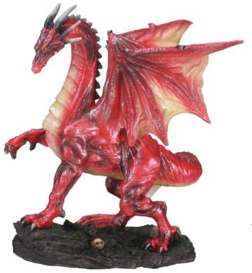 Small Red Midnight Dragon Statue