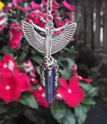 Winged Isis Pendant With Crystal Point