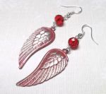 Frosted Ruby Angel Wing Earrings with Swarovski Crystals