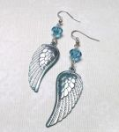 Iced Aqua Angel Wing Earrings with Swarovski Crystals