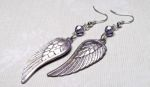 Iced Lavender Angel Wing Earrings with Swarovski Crystals