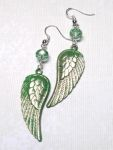 Peridot Angel Wing Earrings with Swarovski Crystals