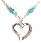 Aquamarine Faithful Heart Necklace