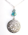 Aquamarine Wheel Of Life Celtic Necklace