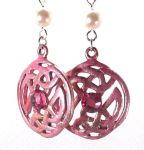 Dark Pink Celtic Happiness Earrings