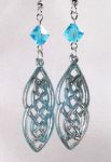 Aqua Celtic Two Lives Entwined Earrings