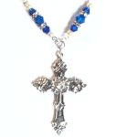 Mediterranean Blue Renaissance Cross Celtic Necklace