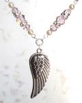 Pink Sapphire Angel Wing Necklace