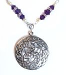 Purple Velvet Wheel of Life Celtic Necklace