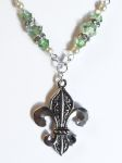 Sea Green Fleur De Lis Necklace