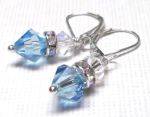 Sterling Silver Swarovski Crystal Earrings - Aquamarine